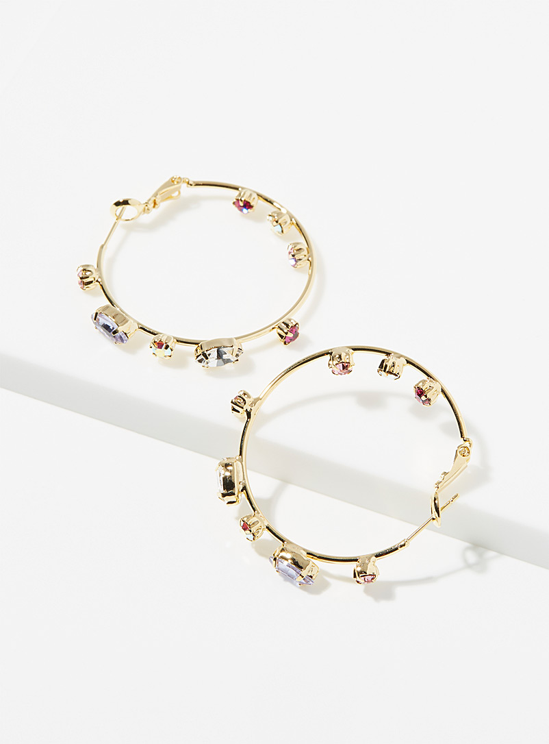 Simons Assorted Large shimmery hoops for women