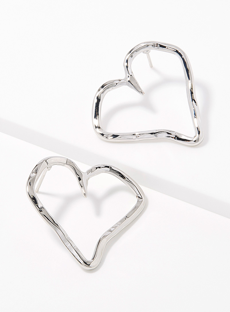 Hammered hearts hoops - Earrings - Silver