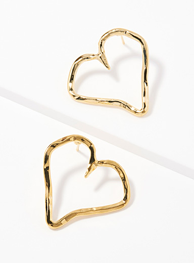 Hammered hearts hoops