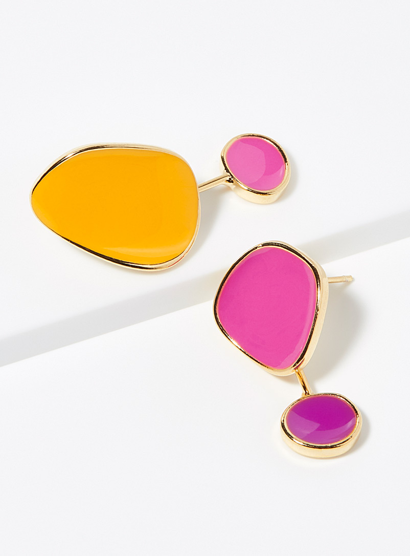 Simons Bright Yellow Abstract disc earrings for women