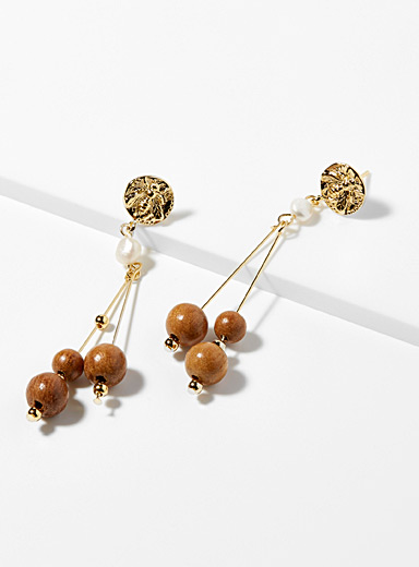 Pearl and rod earrings