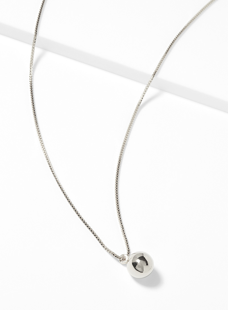 Small metallic sphere necklace - Necklaces - Silver