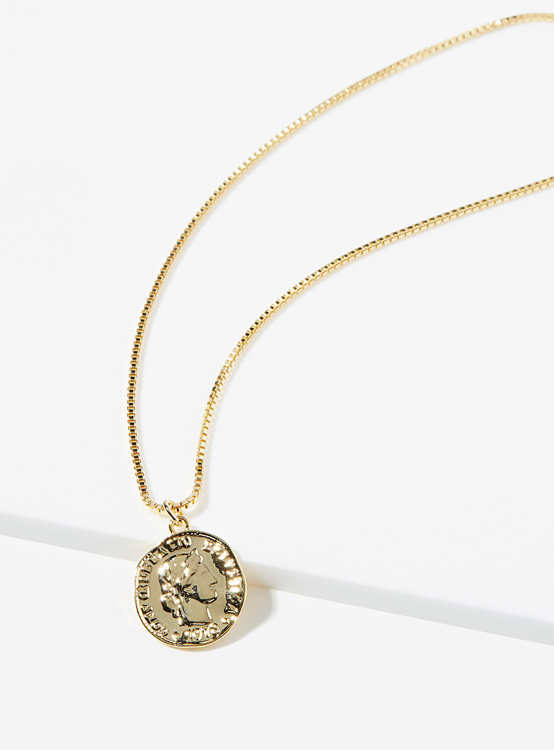 Simons Gold Golden yellow coin pendant chain for women
