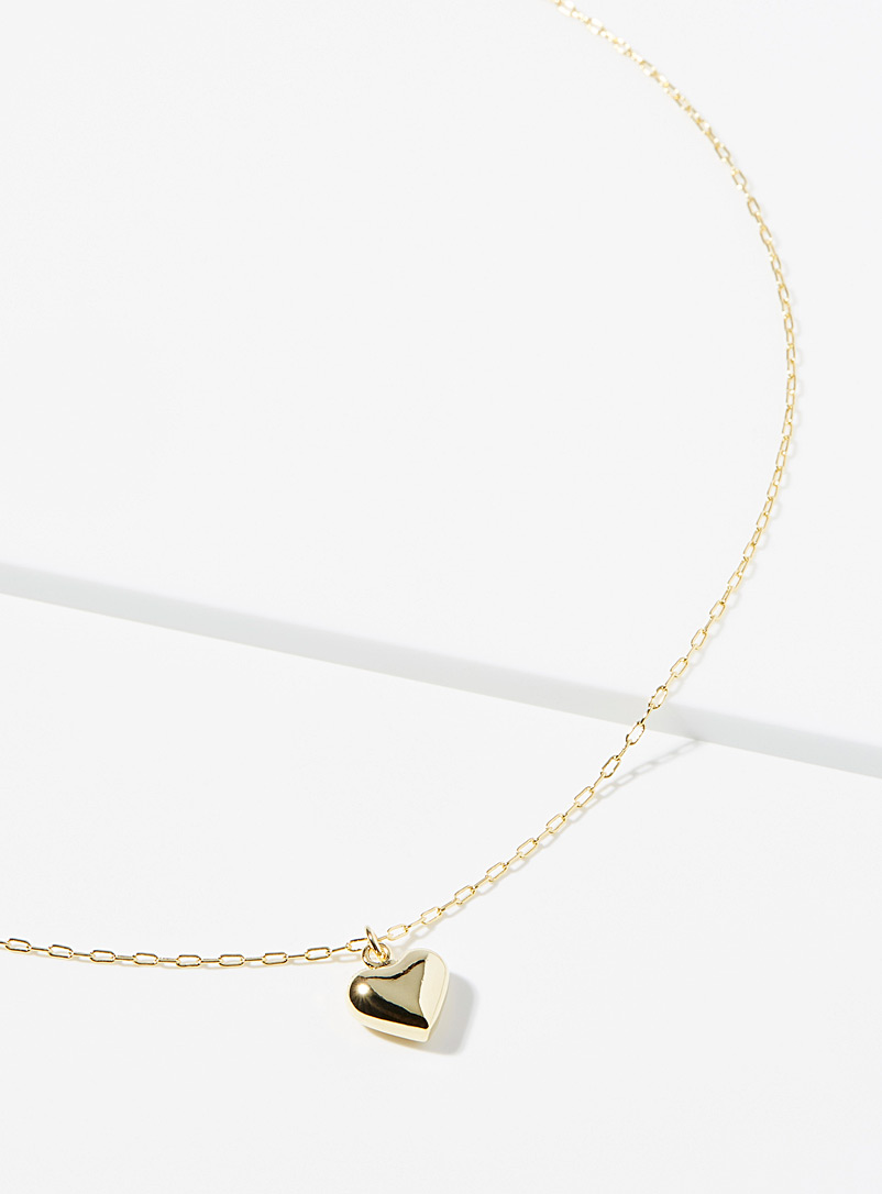 Simons Gold 3D heart necklace for women