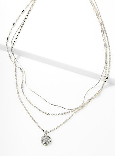 Simons Silver Engraved coin multi-chain necklace for women