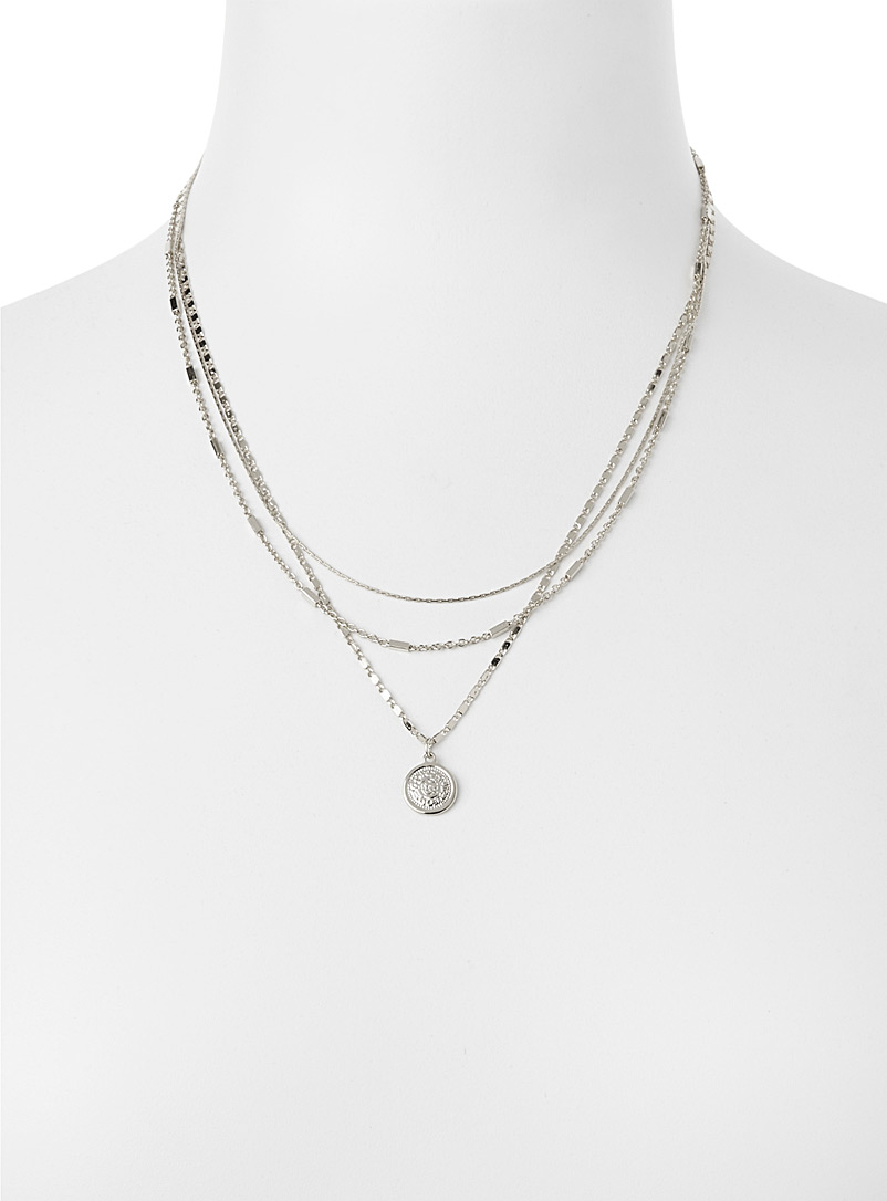 Engraved coin multi-chain necklace - Necklaces - Silver