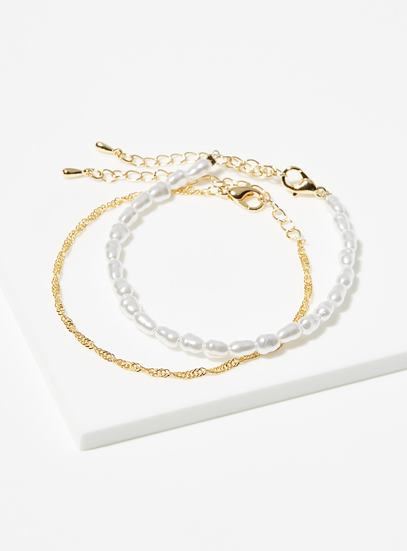 Simons Assorted Small pearl gold chain bracelets Set of 2 for women