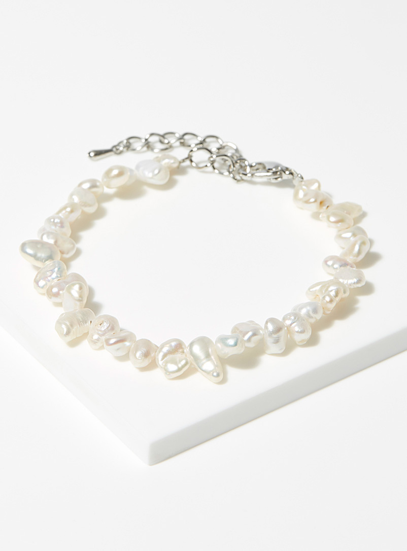 Simons White Asymmetric genuine pearl bracelet for women