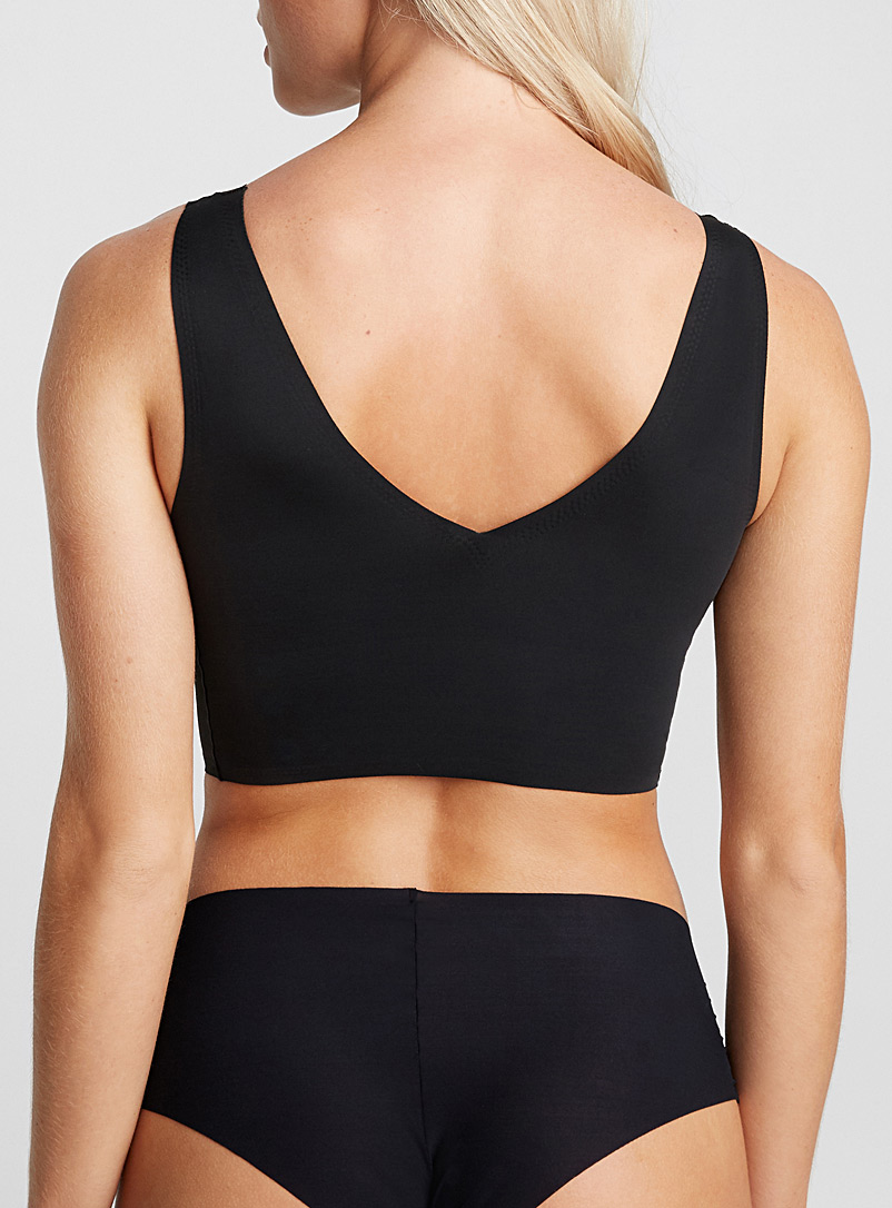 V-neck laser-cut top - Wireless - Black