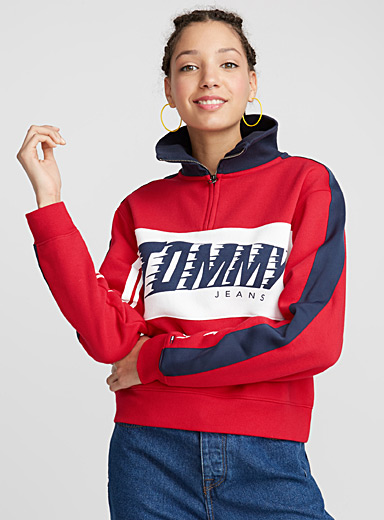 Tricolour high-neck sweatshirt