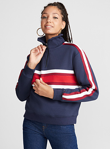 Half-zip stripe sweatshirt