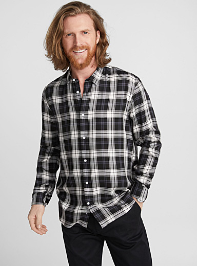 Contrast check shirt <br>Semi-tailored fit