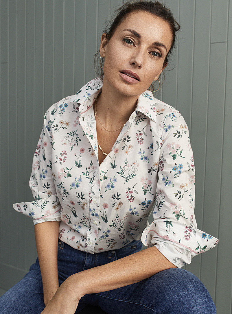 Contemporaine Patterned Ecru Liberty floral shirt for women