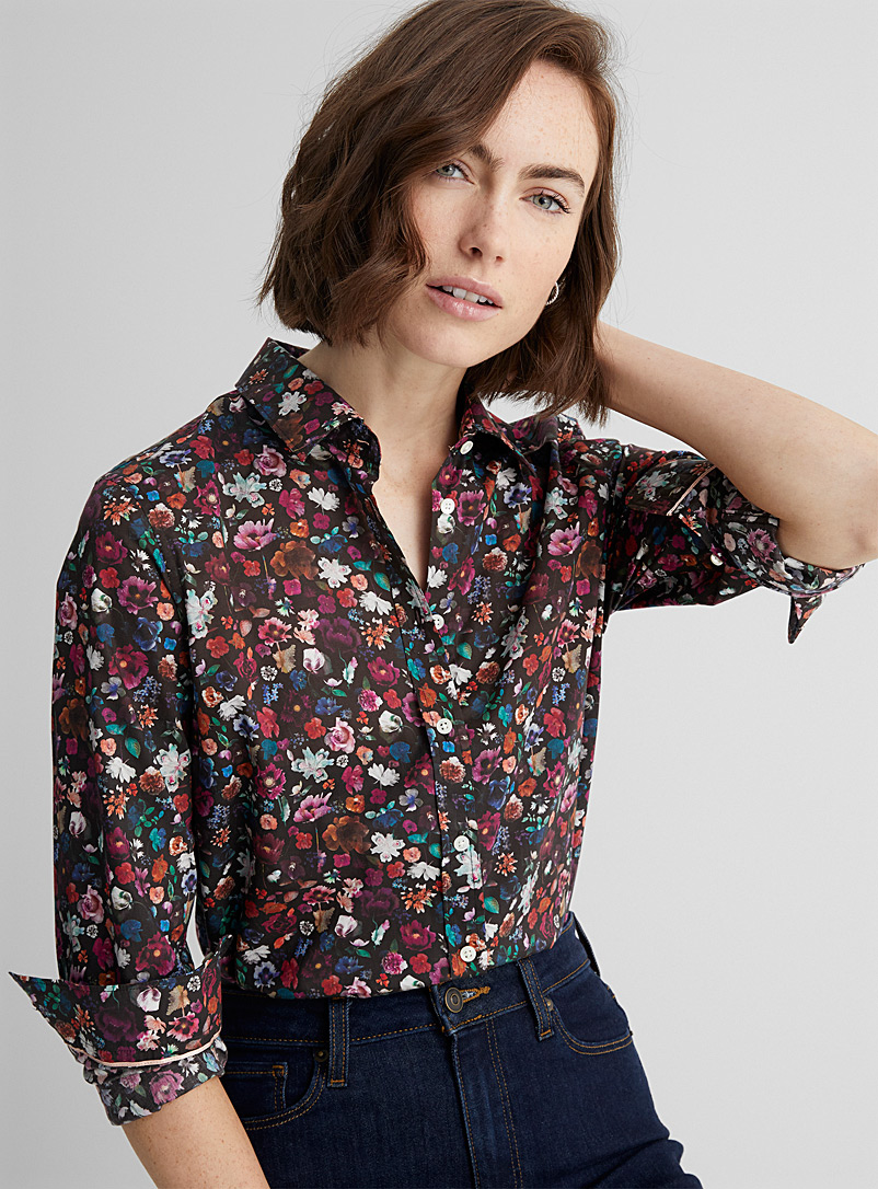 Contemporaine Black and White Liberty floral shirt for women