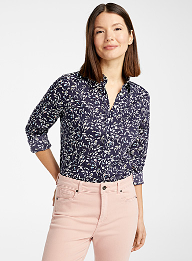 Contemporaine Marine Blue Liberty floral shirt for women