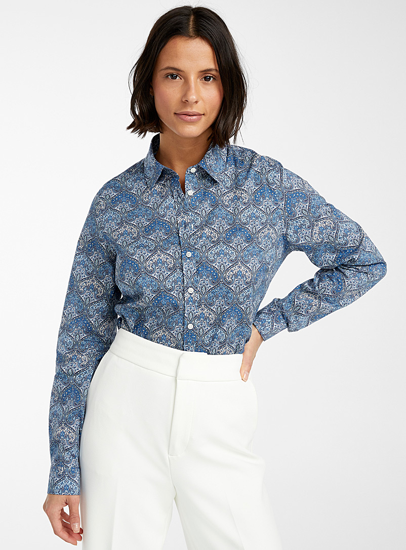 Contemporaine Patterned Blue Liberty floral shirt for women