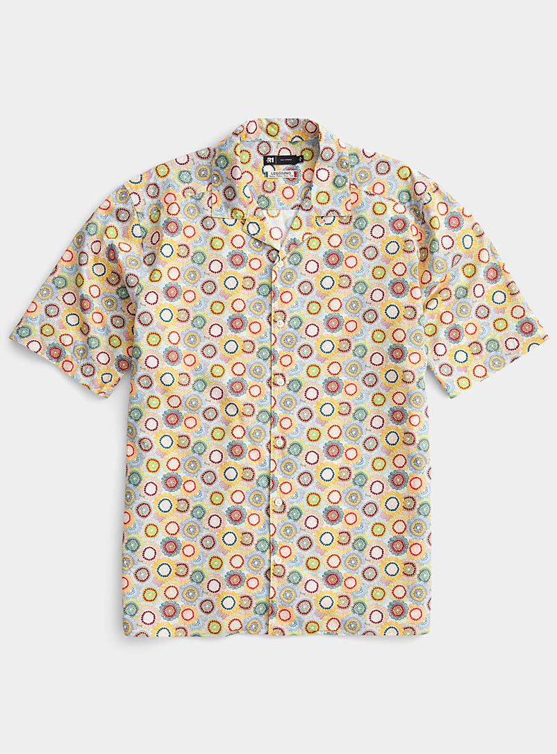 Le 31 Patterned White Traced flower camp shirt for men