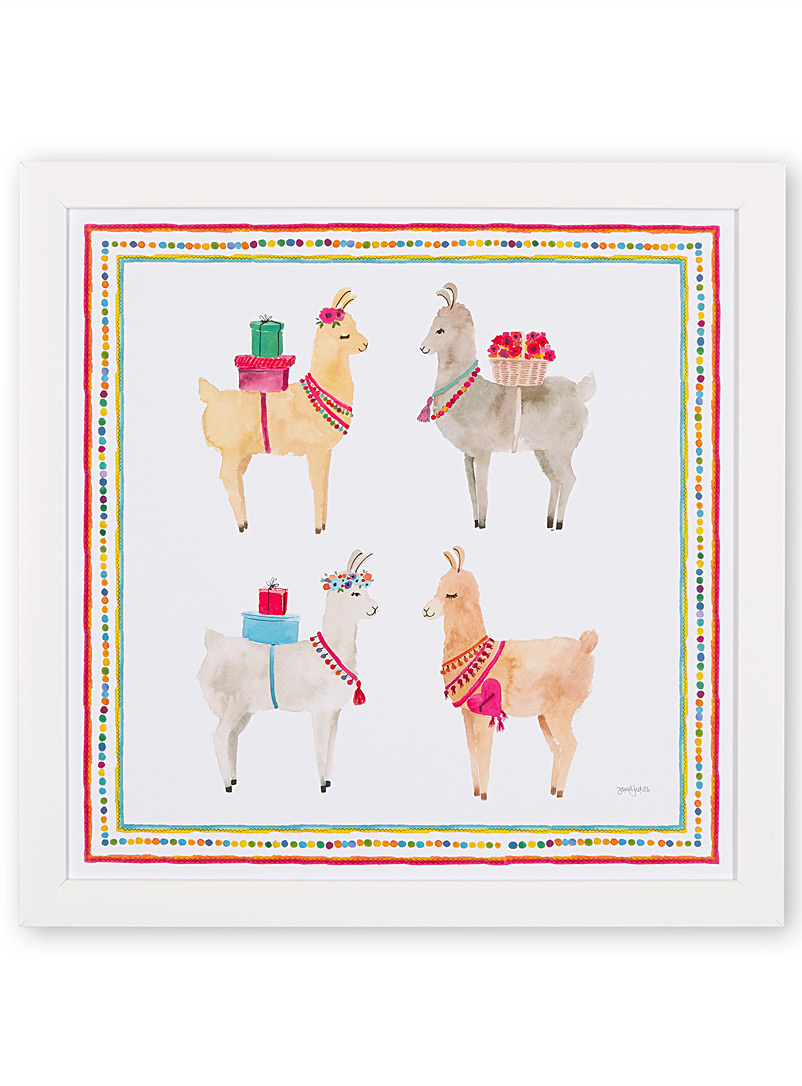 Festive llama art print  16&quote; x 16&quote; - Graphic - Assorted