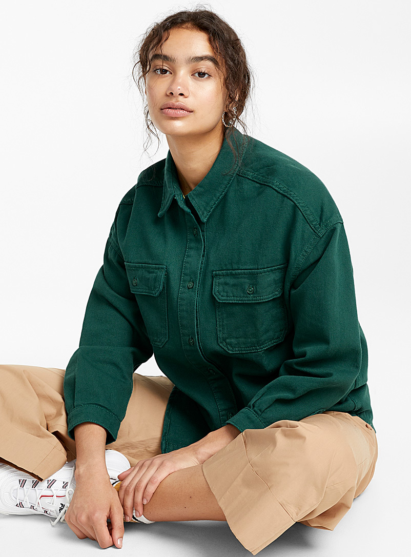 Twik Bottle Green Denim utility shirt for women
