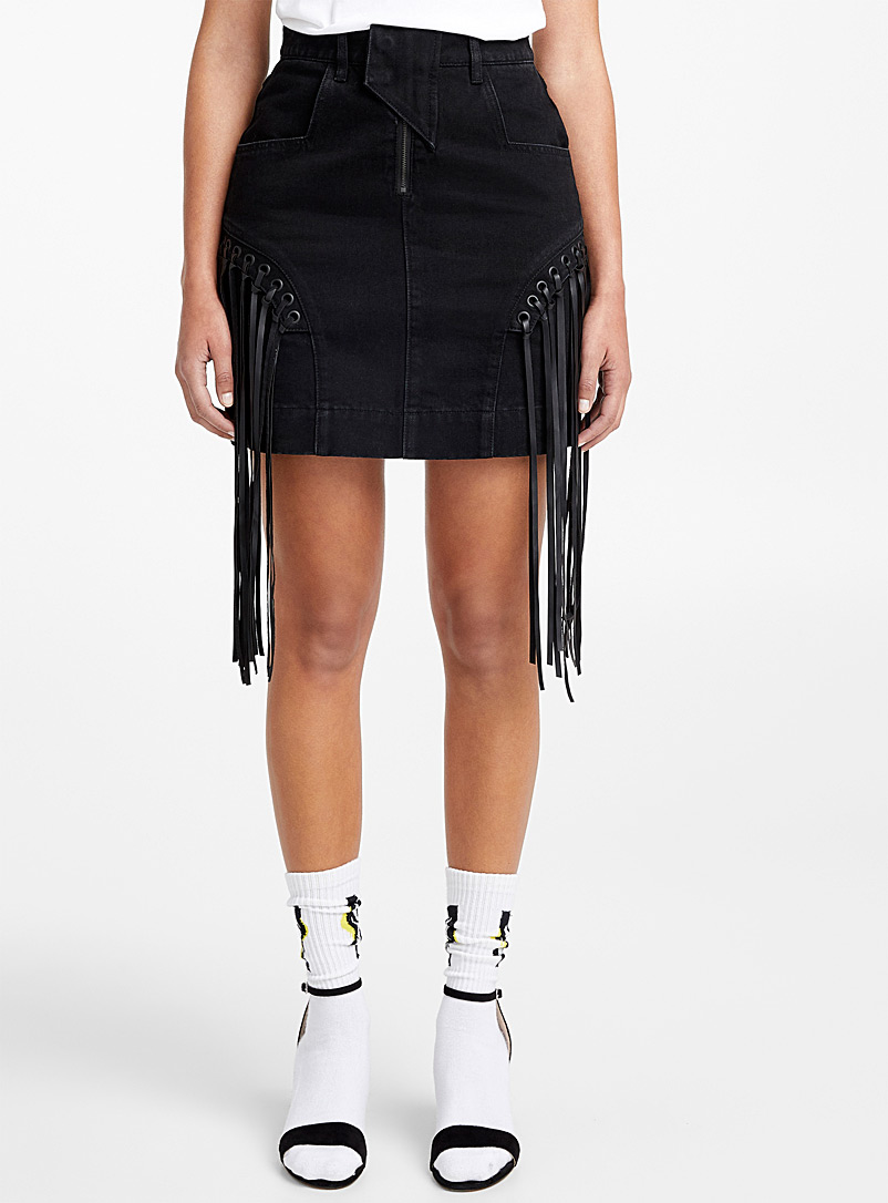 fringed-denim-skirt