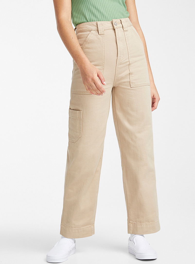 Twik Sand Coloured organic cotton carpenter jean for women