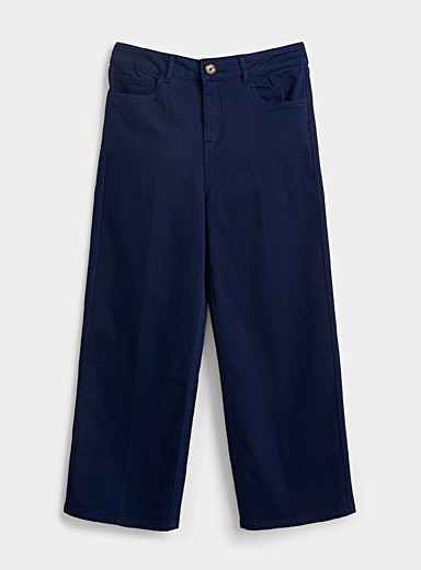Contemporaine Dark Blue Cropped organic cotton wide-leg jean for women