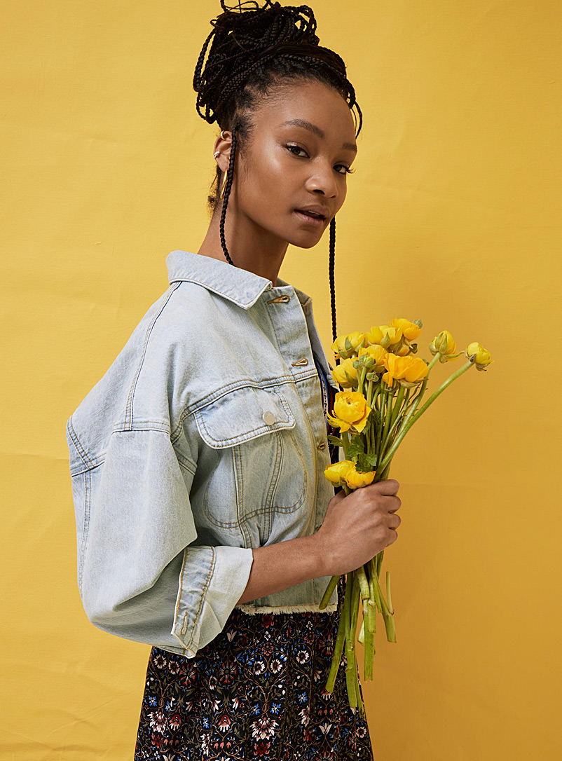 Faded organic cotton bubble jean jacket