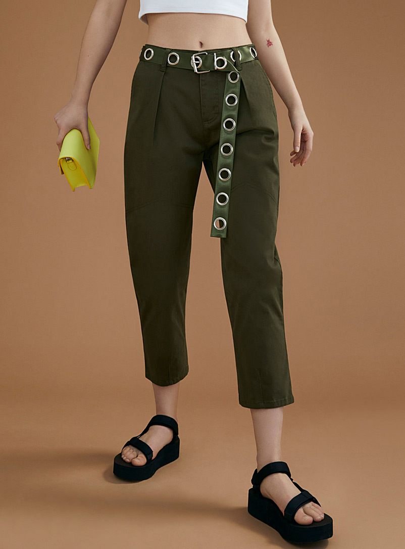 Accent-pleat chinos - Cropped pants - Khaki