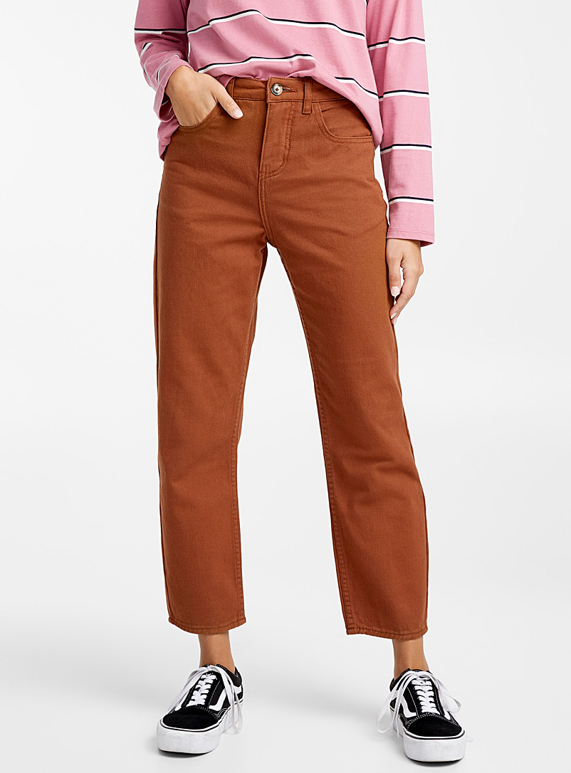 Coloured mom jean - High Rise - Medium Brown