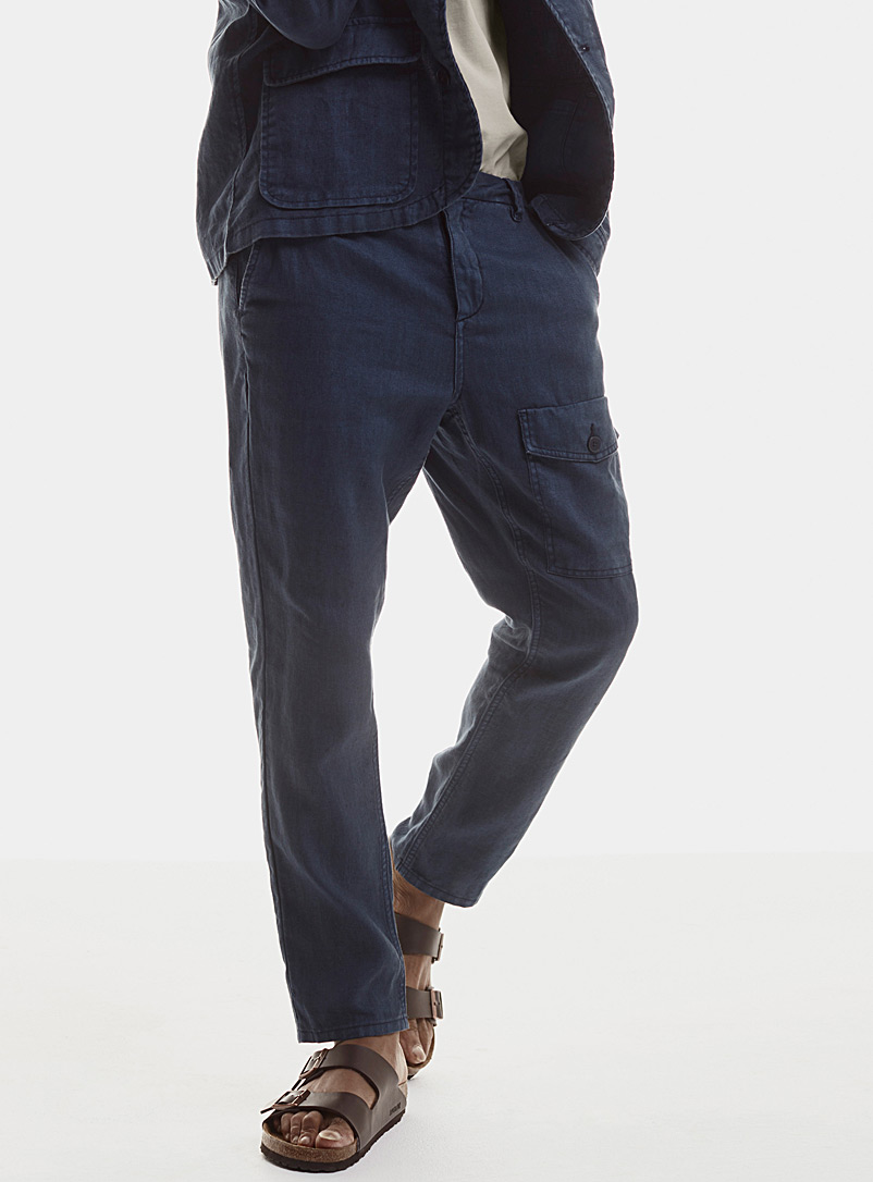 Le 31 Marine Blue Pure linen cargo pant for men