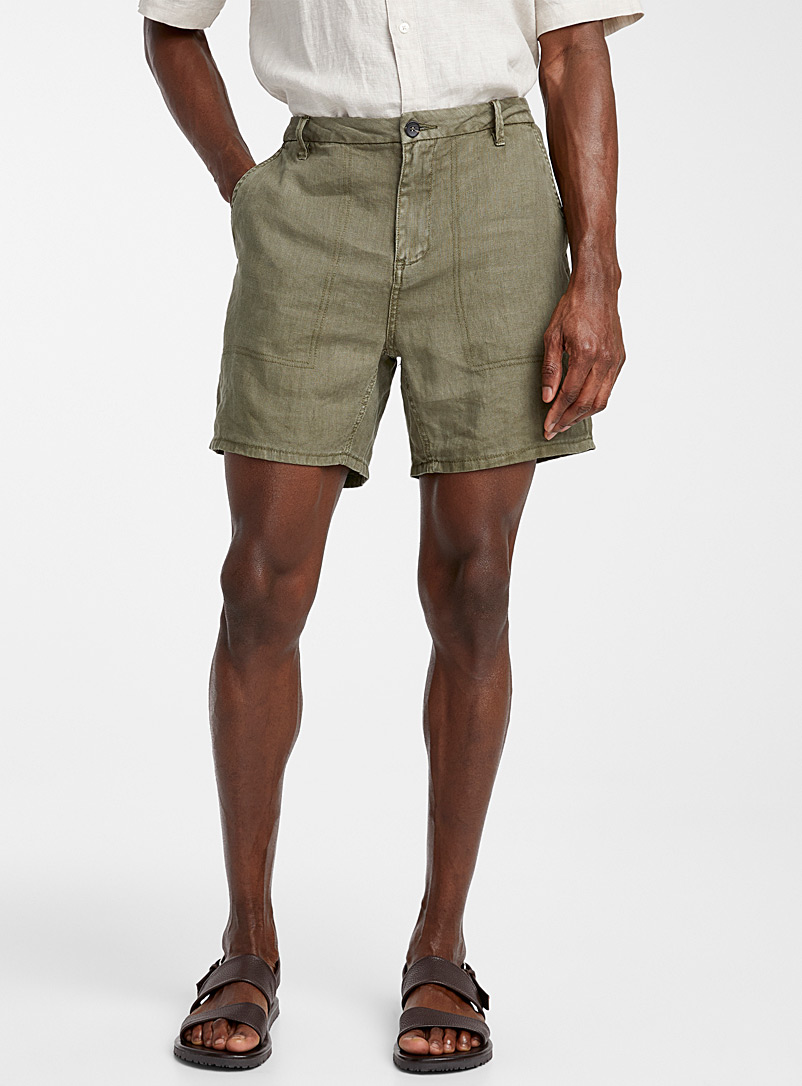 Le 31 Mossy Green Pure linen desert short for men