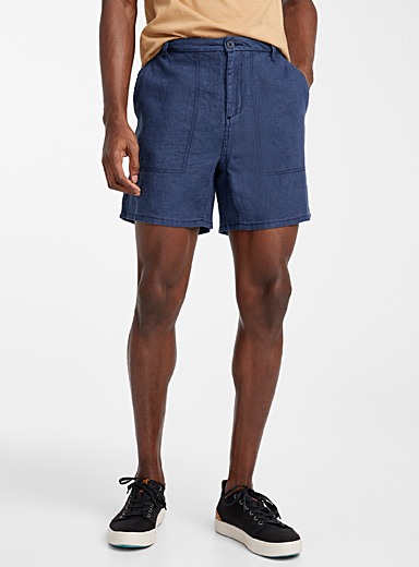 Le 31 Marine Blue Pure linen desert short for men