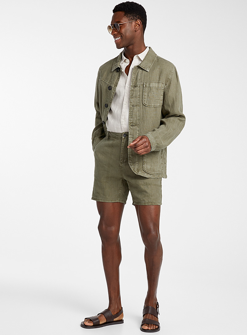 Pure linen workwear jacket - New Proportions - Mossy Green