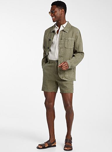 Le 31 Mossy Green Pure linen workwear jacket for men