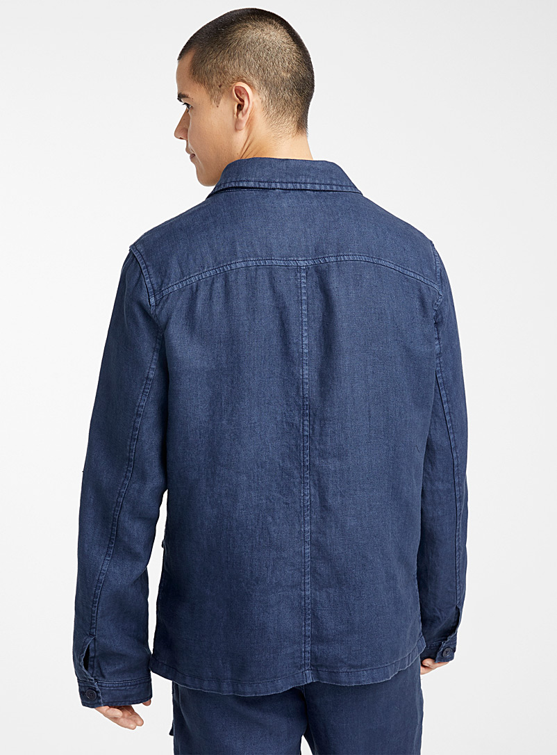 Pure linen workwear jacket - New Proportions - Marine Blue