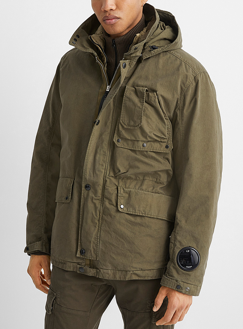 C.P. Company Khaki 50 Fili Rubber Mille Goggle 2-in-1 coat for men