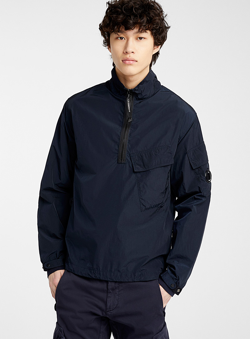 C.P. Company Marine Blue Chrome Half Zip overshirt for men