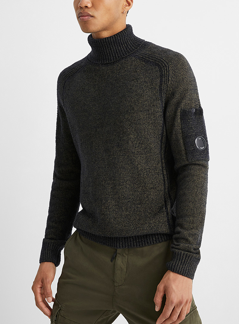 C.P. Company Patterned Green Fleece knit turtleneck for men