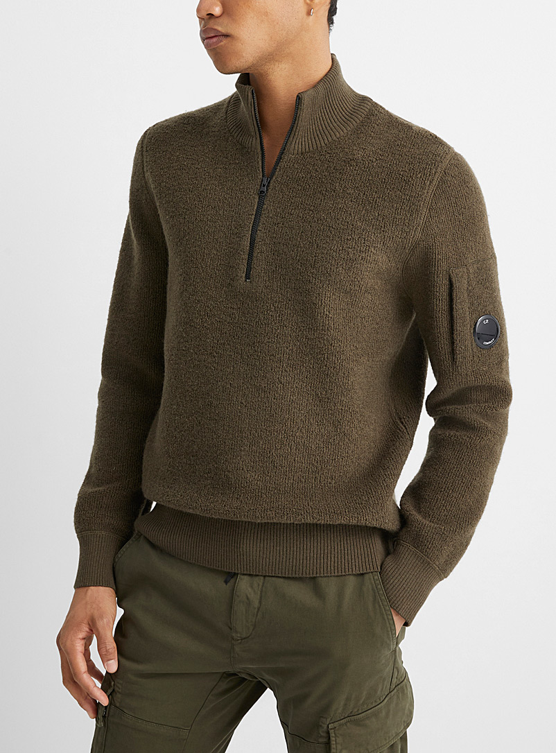 C.P. Company Patterned Green Half-zip mock-neck sweater for men