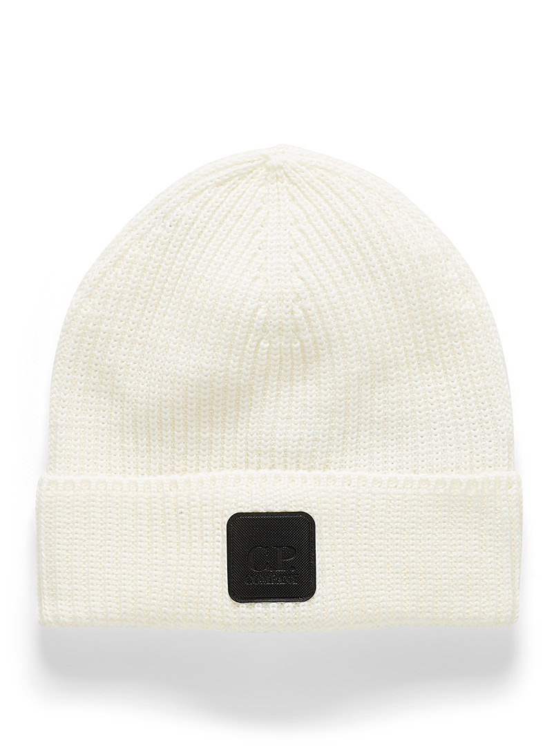 C.P. Company White Logo ribbed tuque for men
