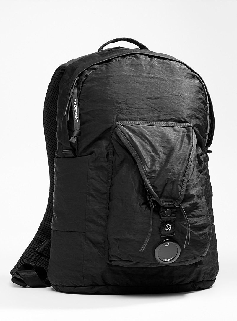 C.P. Company Black Satiny nylon backpack for men