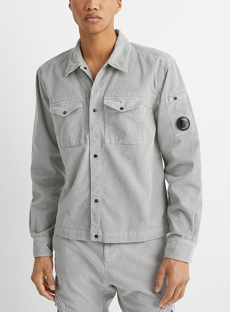 C.P. Company Grey Faded corduroy shirt for men