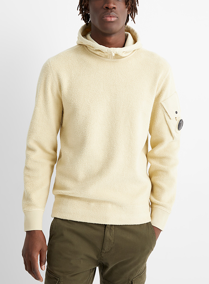 C.P. Company Ivory White Brushed cotton fleece sweatshirt for men