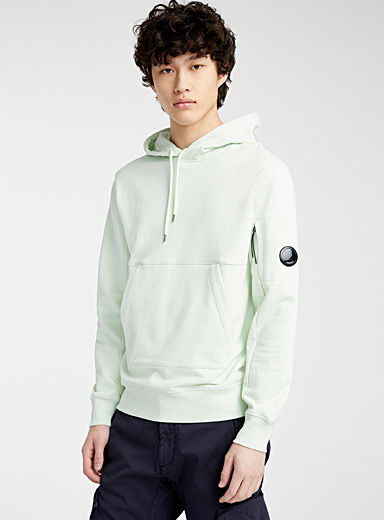 C.P. Company Green Diagonal Fleece hooded sweatshirt for men