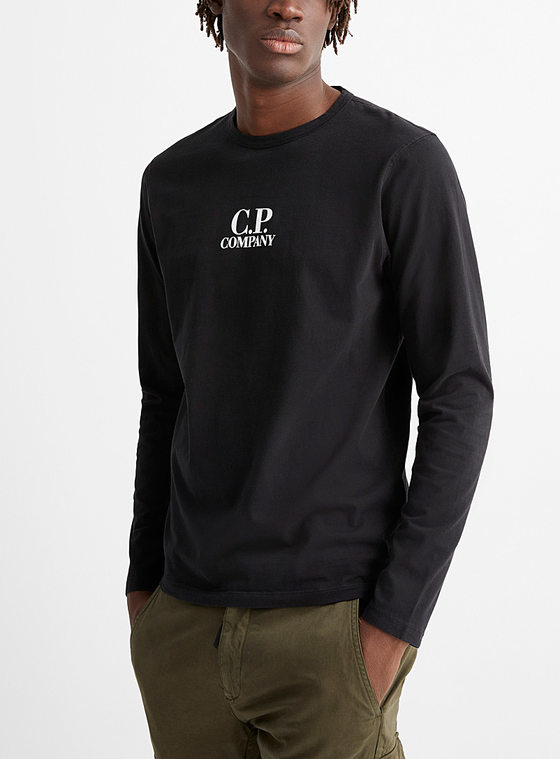 C.P. Company Black Long-sleeve brushed jersey T-shirt for men