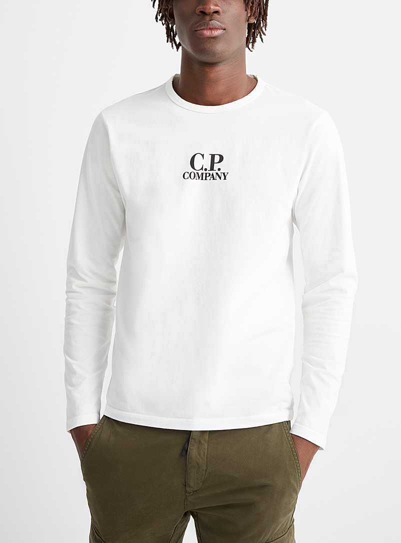 C.P. Company White Long-sleeve brushed jersey T-shirt for men