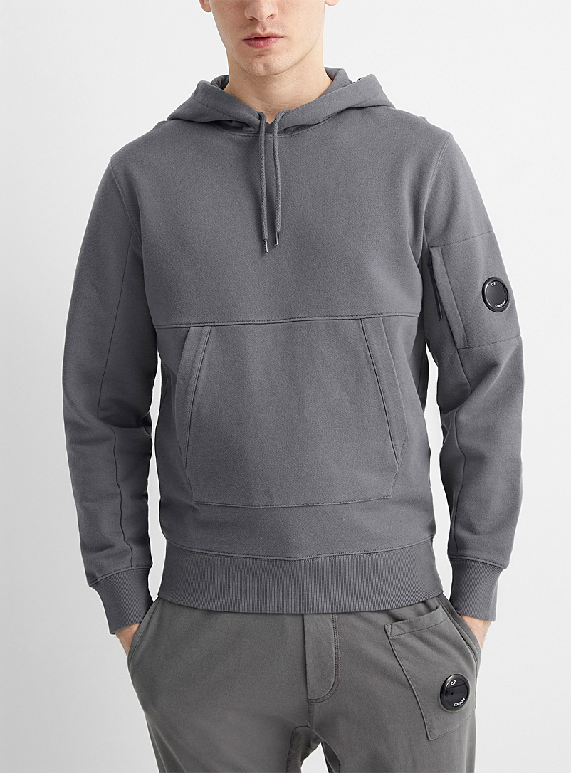 C.P. Company Grey Piece-dyed solid hoodie for men