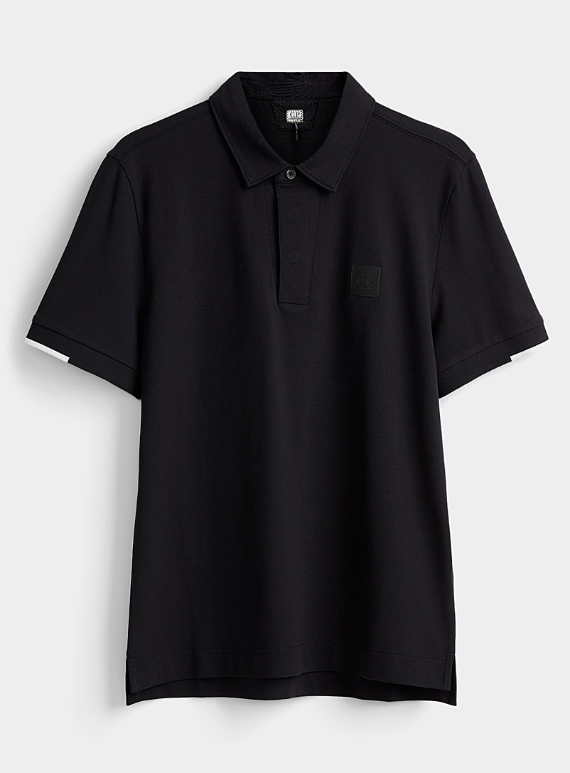 C.P. Company Black Rubber logo polo for men