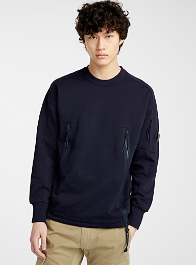C.P. Company Marine Blue Diagonal Fleece sweatshirt for men