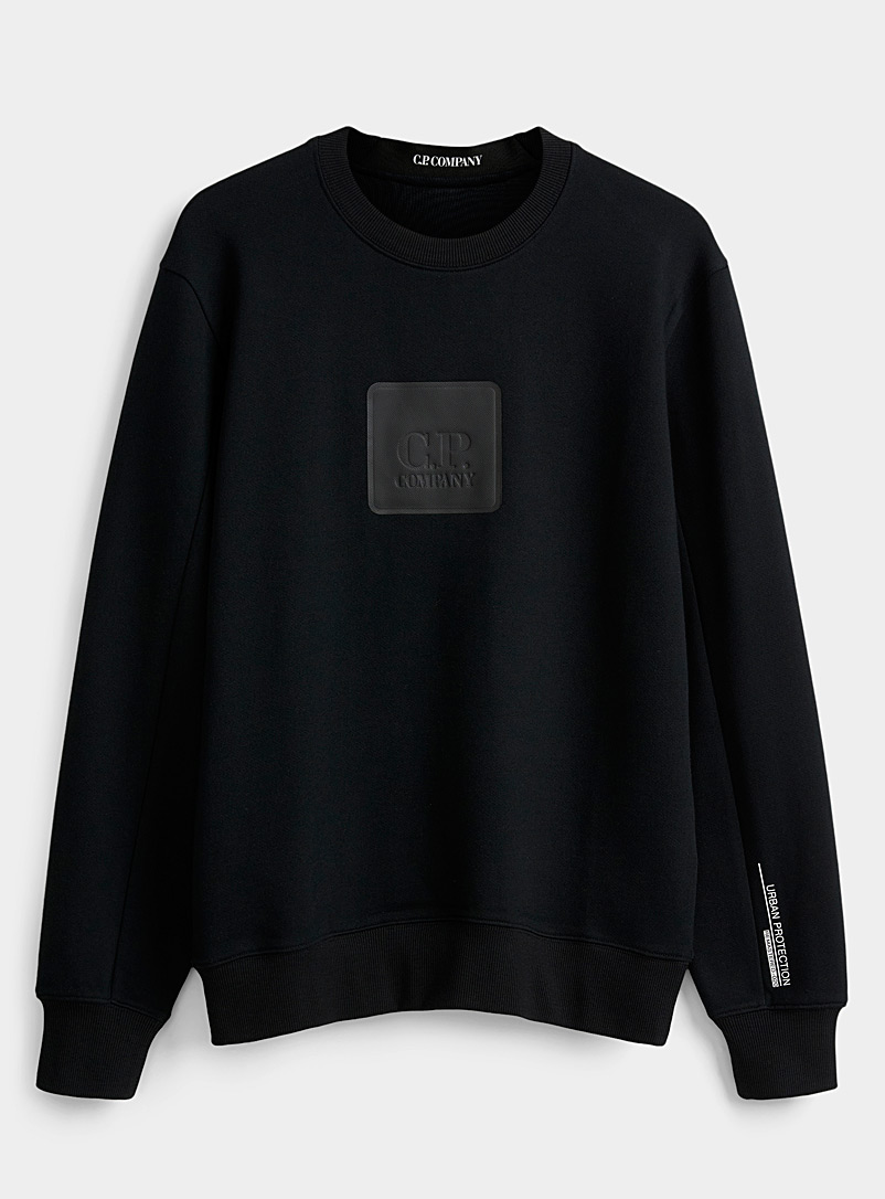 C.P. Company Black Rubber logo sweatshirt for men